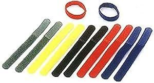 Cablematic - Tira velcro ordena cables 20x185mm multicolor 10 unidades