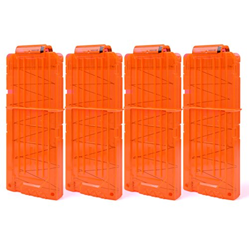 FUCAS Soft Bullet 4pcs Clips 12 Bullets Dart Gun Clips Magazine Clip For Nerf Toy Dart Gun (Transparent Orange) (Nerf Magazine Clip)