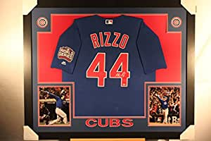 Anthony Rizzo Autographed Signed CUSTOM FRAMED Majestic Rare Blue World Series Patch Chicago Cubs Jersey MLB Hologram