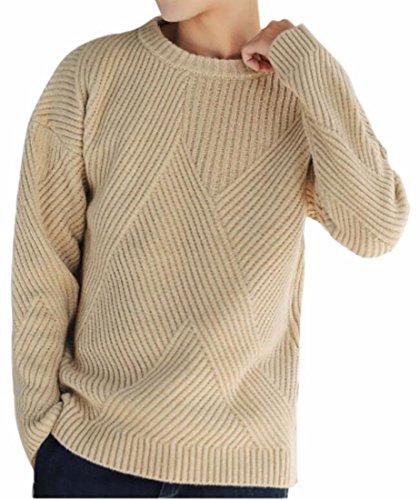 A Mens uk Oggi Kaki Superiore Pullover Puro Sottile Colore Camicia Maglia Lavorata Elegante z5wqR