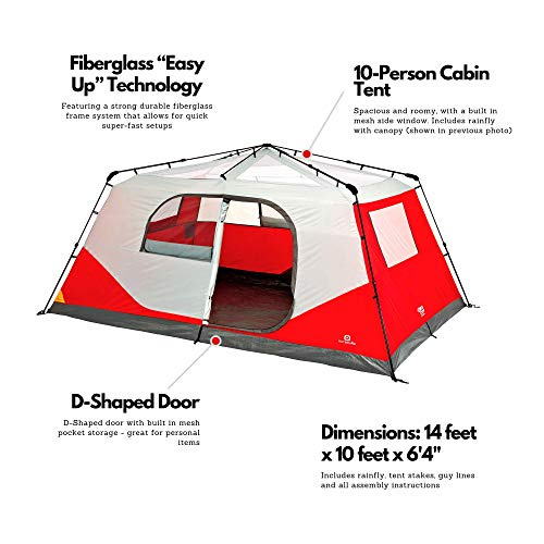 Outbound 10-Person Tent | Instant Pop up Tent for Camping with Carry Bag and Rainfly | Perfect for Backpacking or The Beach | Cabin Tent, Red