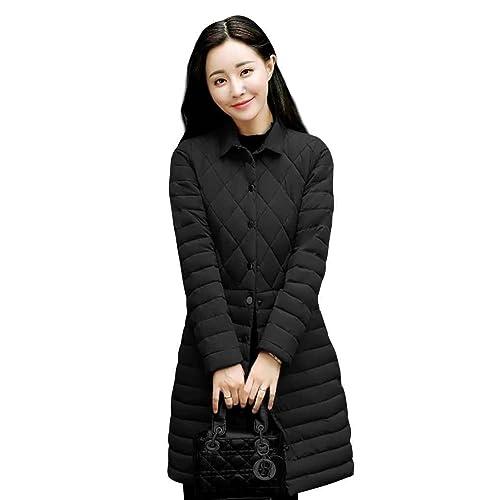 Chaqueta de algodón a la moda larga Outwear Mujeres Chaquetas de invierno a cuadros delgadas finas a...