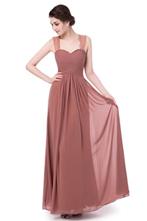 Lafee Bridal Womens Bridesmaid Chiffon Prom Dress Straps Long Evening Maxi Dress Brown Size 2