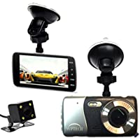 "WPTECH X600 4"" IPS Screen FHD 1080P Car Dash Cam, F2.0 Big Eye Car Camcorder Front and Rear Camera DVR, Slim Alloy Car Black Box, Wide Angle 152 degree, Night Vision, LDWS, FCWS Functions"