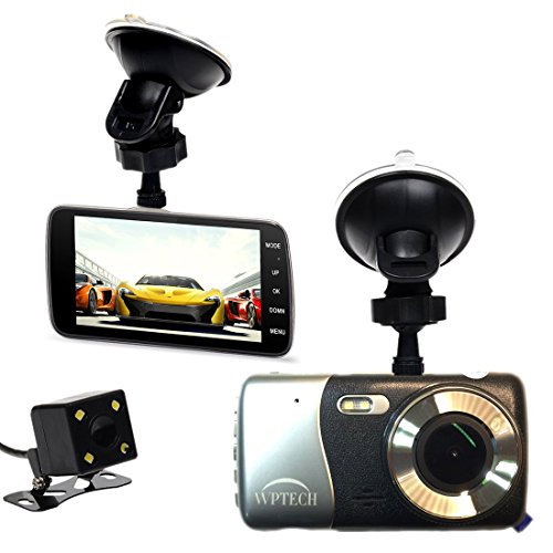 """WPTECH X600 4"""" IPS Screen FHD 1080P Car Dash Cam, F2.0 Big Eye Car Camcorder Front and Rear Camera DVR, Slim Alloy Car Black Box, Wide Angle 152 degree, Night Vision, LDWS, FCWS Functions -  Winplus Technology"""