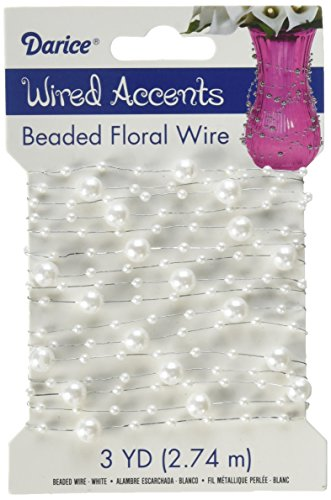 Wired Accent - WIRED ACCENTS Hdl-11036 Floral Beaded Wire Garland White 3 Yards