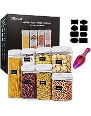 KITment 7PCS Airtight Food Storage Containers with Lids Airtight Cereal Dry Food Storage Canisters Kitchen Pantry Storage Organization for Sugar, Flour, Snack, BPA Free