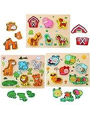 3D Barn Djur Träpussel Pussel för Barn, 3-pack Träpussel Med Skogsdjur/Insekter Montessori Pedagogisk Förskola Leksak för Pojkar och Flickor 3 4 5 år