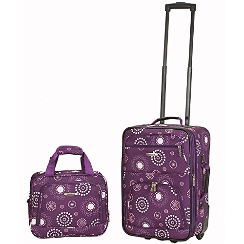 2 Piece Purple Lightweight Wheeled Briefcase, Lightweight Expandable Carry-on Luggage Set, Geometric Pattern, Expandable, Multi-Compartment, Rolling, Polyester Material, Light Pink - Exclusive Multi Compartment Expandable Briefcase