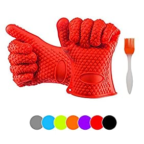 CookPro Silicone Ov for BBQ Grill, Baking, Potholder and Kitchen Use; Extra Thick (190g Per Glove) Heat Resistant, Non-slip, Water Proof and Dishwasher Safe-with BBQ brush- red