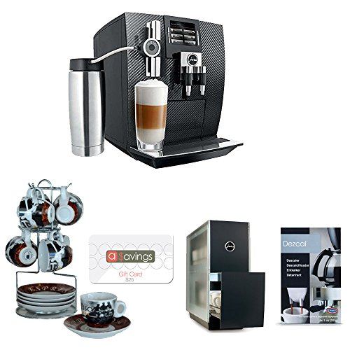 Jura J95 Carbon Automatic Coffee Center + Coffee Bean Series Espresso Cup and Saucer On Wire Rack (Set of 6) + $25 aSavings Gift Card + Accessory Kit