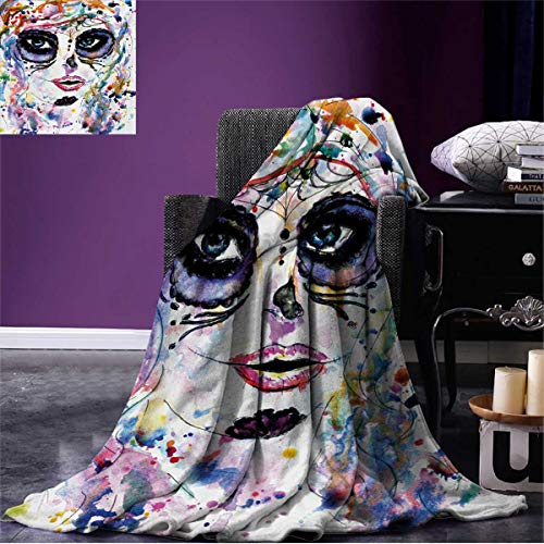 Anniutwo Sugar Skull Cool Blanket Halloween Girl with