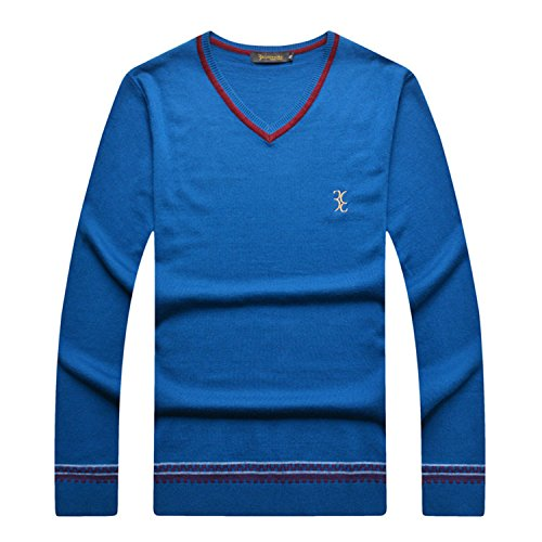 Musamk Dashing italian couture sweater wool men's commercial new V-neck fashion Business casual British Color blueL High Grade