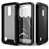 Cell Accessories For Less (TM) LG Aristo Fortune Phoenix 3 K4 K8 2017 - Zizo ION Triple Layer Case Cover Tempered Glass - Black/Smoke Bundle (Stylus & Micro Cleaning Cloth) - By TheTargetBuys