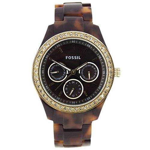 Fossil Women's 'Stella' Quartz Plastic Casual Watch, Color:Brown (Model: ()