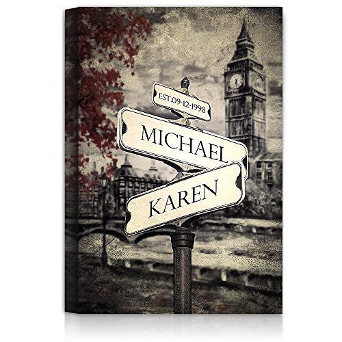 (Lovers Crossroads - Personalized Canvas Prints Gift, includes Names and the Special Date - Perfect Gift for the Wedding Anniversary.)