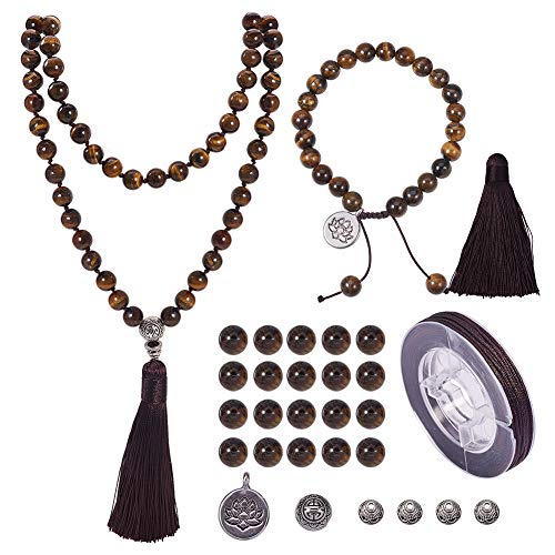 (SUNNYCLUE 1 Set 108 Tiger Eye Gemstone Mala Beads/Buddha Beaded Necklace Jewelry Making Kit - DIY Make 1 Hand Knotted Prayer Tassel Pendant Necklace and 1 Adjustable Mala Wrap Beaded Bracelet)