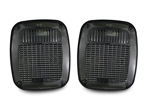DEPO 1987-1995 Jeep Wrangler YJ / 1997-2006 Wrangler TJ Smoke Rear Tail Lights Set (Best Way To Smoke Out Tail Lights)