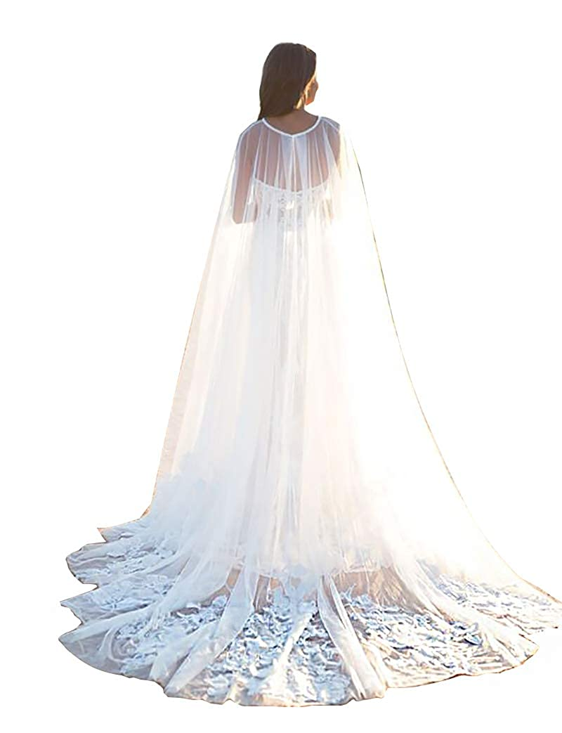 Ivory EllieHouse Women's Long Tulle Bridal Cape Wedding Veil Cloak T14
