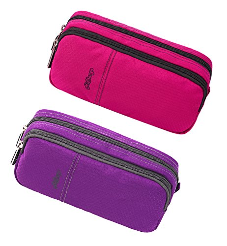 Pencil Case, Large Capacity Pencil Cases Pencil Bag with Two Compartments (2Pack Pink+Purple)
