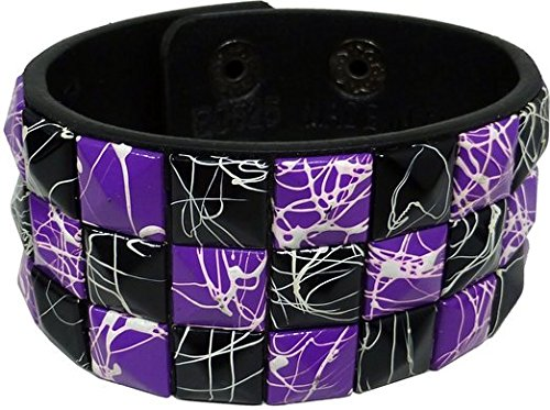 Purple Checkered Studs (Purple/Black Checkered with White Line Crack Line Studded Black Leather Bracelet-Brand New!)