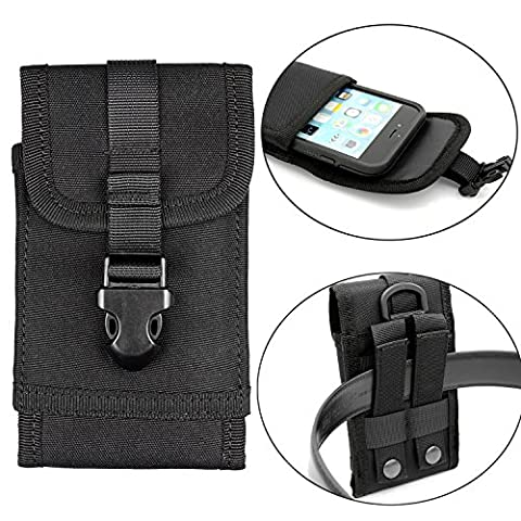 Premium Outdoor MOLLE Tactical Military Pouch Army Camo Waist Holster with Belt Clip for iphone 7 6s 6 Plus,Samsung Galaxy S7 Edge S8 Edge (Fits will a Slim Hard Case Bumper Cover (Military Cell Phone Covers)