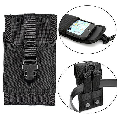 Mobile Phone Clip Case (Premium Outdoor MOLLE Tactical Military Pouch Army Camo Waist Holster with Belt Clip for iPhone X 6 6s 7 Plus 8 Plus ,Samsung Galaxy Note 8 S7 S8 S6 Edge (Fits will a Slim Hard Case Bumper Cover On))