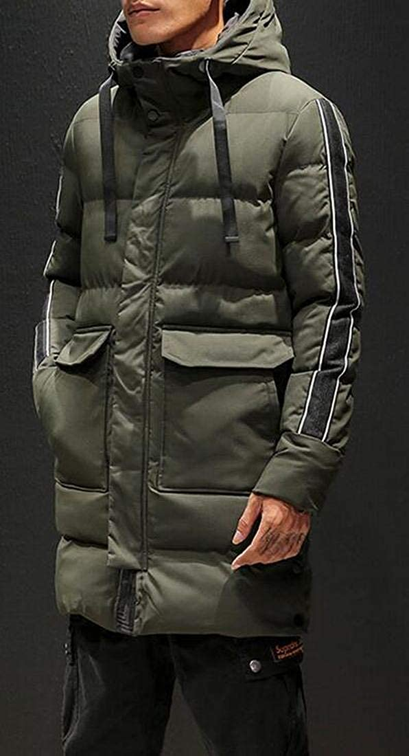 ARTFFEL Mens Parkas Warm Hooded Winter Thicken Longline Quilted Jacket Coat Outerwear