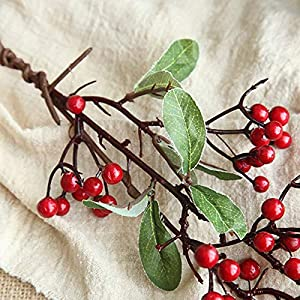Artificial Dried Flowers - 1pc Simulation Artificial Flower Plant Fake Small Berry Red Stylish - Artificial Flowers Dried Artificial Dried Flowers Flower Small Branch Wreath Foam Cotton Glitter 57