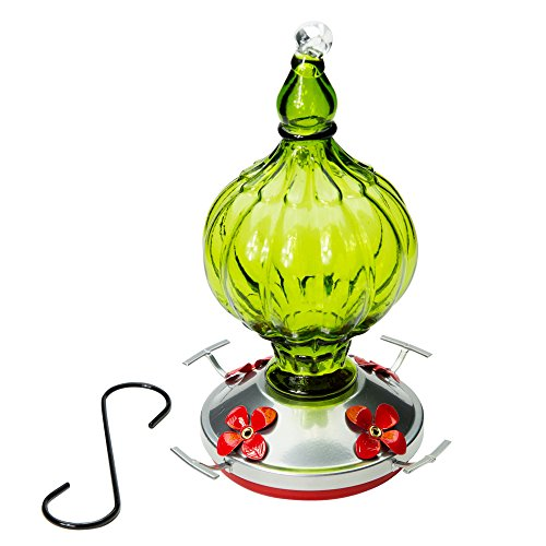 Hummingbird Feeder --- BEAUTIFUL HAND-BLOWN GLASS Feeders | Bird Lovers | Holds 20 ounces of Nectar | Great Reviews (by Best Home Products) (Green - Pear (20 Ounce Glass Bird Feeder)