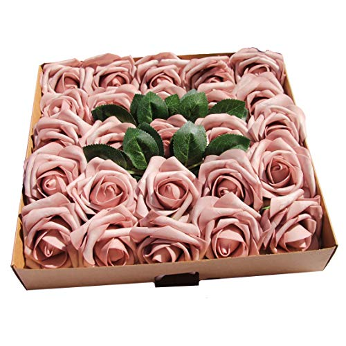 (CAL Farms Artificial Roses, Artificial Flowers Fake Roses Look so Real, Made of Foam for Weddings, and Home Decor (Dusty Rose, 25 Count, 3