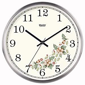 Jiaa Wall Clock For Living Room Style Bedroom Silent Quartz Home Decor 14 Inch Metal