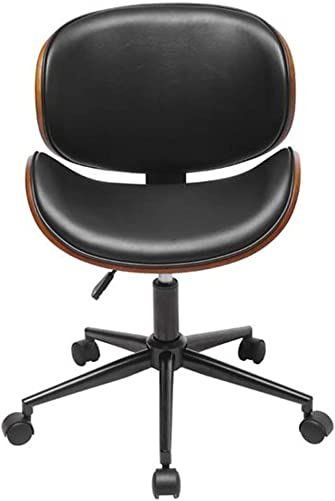 Shamdon Home Collection Mid-Century Office Desk Chair Office Computer Task Executive Desk Chair Adjustable Height Leather Chrome Base Bent Plywoodm,Swivel Task Office Chair