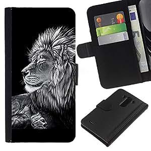 All Phone Most Case / Oferta Especial Cáscara Funda de cuero Monedero Cubierta de proteccion Caso / Wallet Case for LG G3 // Black White Art Drawing Lion Big Feline