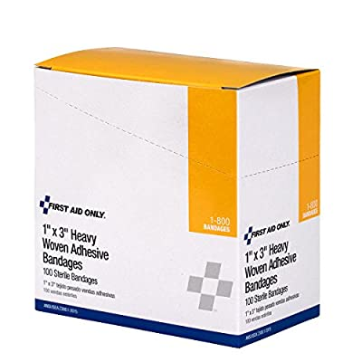 """Pac-Kit by First Aid Only 1-800 Woven Bandage, 3"""" Length x 1"""" Width (Box of 100) by Pac-Kit"""