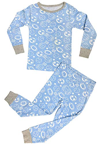 (Sale Best Blue Soccer Sports Snug Fit Babys First Easter Basket Stuffer Sale Pajamas Baby Infant Cotton Cozy Comfortable Shirt Top Bottom Set New Fun Cute Unusual Gift Idea (Sports,)