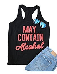 SPORSET Women's May Contain Alcohol Letters Print Sleeveless Summer Casual Tank Top