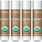 Cliganic Organic Lip Balm - Coconut (Pack of 4)