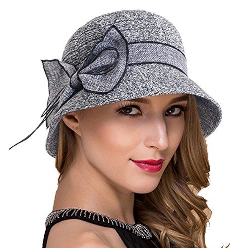 - Womens Sun Beach Bucket Hat Cotton Linen Thread Sweet Cute Cloche Summer Cap W001 (Black)