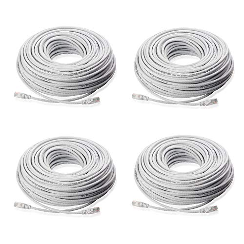Lknewtrend (4) 200FT Feet CAT5 Cat5e Ethernet Patch Cable - RJ45 Computer Network Internet Wire PoE Switch Cord (4 Pack, 200 - 5e Category Wire