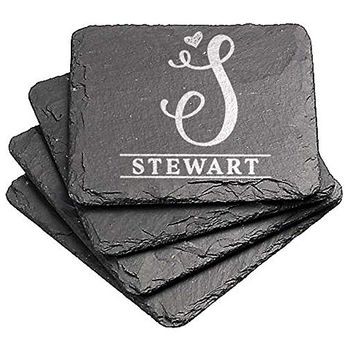 Personalized Coaster Engraved (Custom Engraved Monogram Initial Natural Slate Coasters, Set of Four, Style 1010Slate (Slate 4