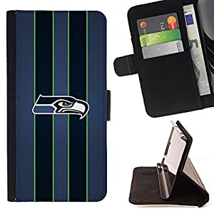 For Apple Iphone 5 / 5S Seahawk Football Beautiful Print Wallet Leather Case Cover With Credit Card Slots And Stand Function