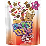 Friskies Party Mix Cat Treats – Mixed Grill Crunch – Chicken, Beef, & Salmon Flavors – Net Wt. 6 OZ (170 g) Each – Pack of 2