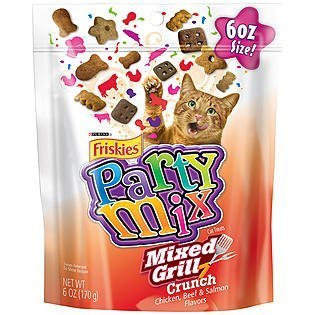 - Friskies Party Mix Cat Treats - Mixed Grill Crunch - Chicken, Beef, & Salmon Flavors - Net Wt. 6 OZ (170 g) Each - Pack of 2