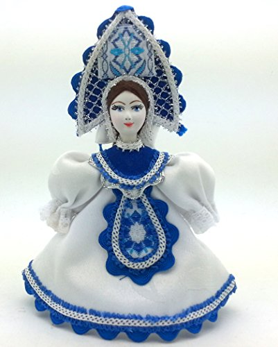 [CHRISTMAS Tree Ornament Russian Doll in traditional folk costume with porcelain hand painted face / Girl in a white dress] (Porcelain Doll Costumes)