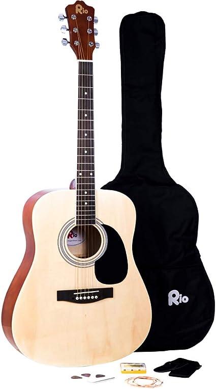 Rio Natural 4/4 - Guitarra acústica de tamaño completo de 41 ...