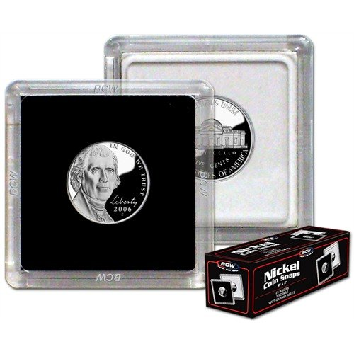 (NEW BCW 2X2 COIN SNAP - NICKEL - BLACK - PACK OF 25)