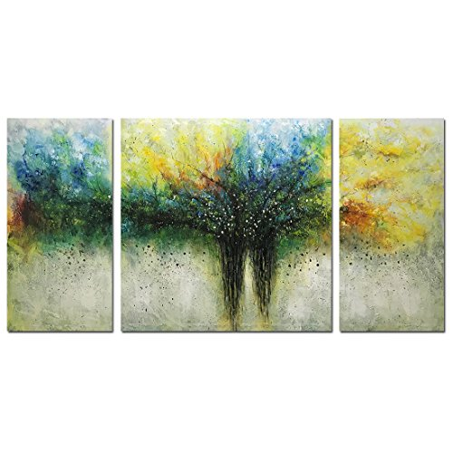 Metuu Paintings, 32x64 Inch Paintings Modern Tree of Life Oil Painting Contemporary Artwork Floral Hangings Stretched And Framed Ready to Hang Wall Decoration Abstract Painting by Metuu