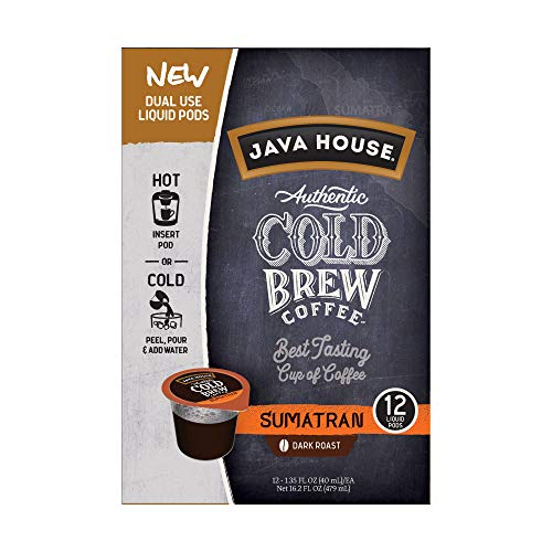 JAVA HOUSE Authentic Cold Brew Coffee, Sumatran, K-Cup Coffee Pods (12 Count)