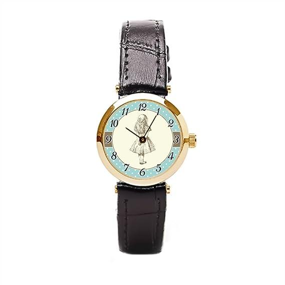Ser un hombre relojes con bandas de cuero aventuras en el país de las maravillas carácter la libro reloj con piel banda: Amazon.es: Relojes